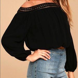 Lulus || Black Lace Off Shoulder Crop Top